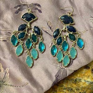 Kendra Scott blue ombré chandelier earrings